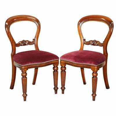 Pair Of Frank Hudson & Sons Harrods Stamped Medallion Mahogany Dining Chairs