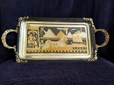 """Authentic Egyptian Brass Decorative Tray w/Handles Gold and Silver 16 x 7 1/2"""""""