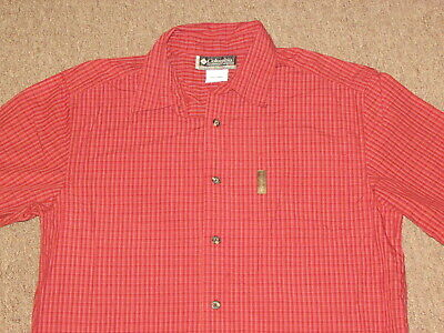 Columbia X.C.O. Mens Red Gray Orange White Plaid Button Down Front Shirt L large