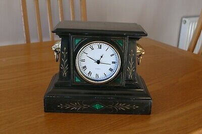 Antique Black Slate Mantle Clock Case With Malachite Inlay, Quartz Movement
