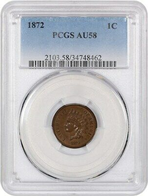 1872 1c PCGS AU58 - Indian Cent - Key Date