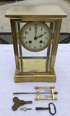 1910's Antique French Crystal Regulator Mantel Clock Working Great Japy Freres
