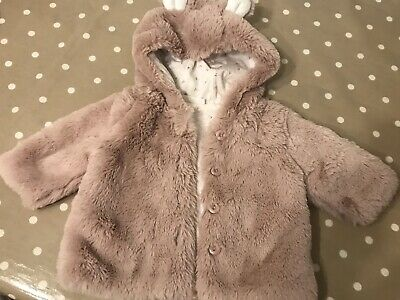 Next Baby Girls Pink Fluffy Bunny Coat 0-3 Months