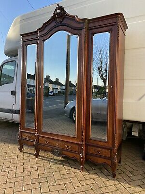 Antique French Louis XV Mahogany Triple Armoire Break front With Bevelled Mirror
