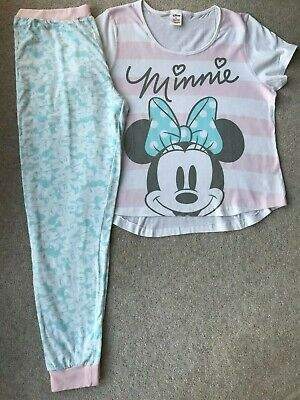 NEW Ladies Disney Minnie Mouse Pyjamas Womens Pj's Pink & Pale Blue Genuine