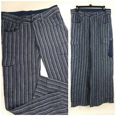 Urban Outfitters UO Womens Size 3 32x32 Striped Blue Linen Cargo Pants Wide Leg