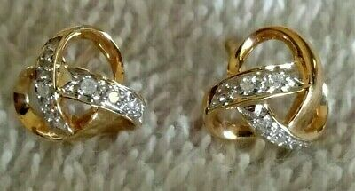 Solid 14kt Yellow Gold Natural Diamond Love Knot Pierced Earrings