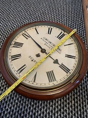Rare Antique Mahogany Chain Fusee Smiths & Son Derby Wall School Station Clock
