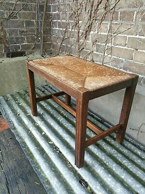 Vintage wooden bench, hall seat, with woven seat
