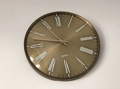 "Vintage Gents of Leicester 12"" Gilt Face Brass Case Wall Clock"