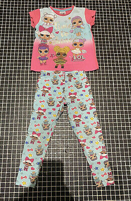 Girls Lol Pjs Pyjamas Age 5/6 Years Leggings Glitter Short Sleeve Matalan