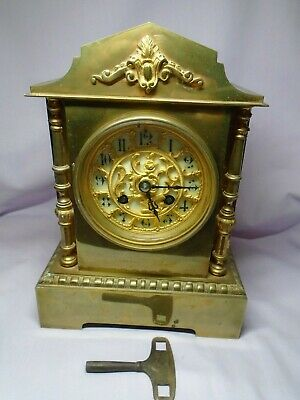 ANTIQUE BRASS FRENCH A.D.MOUGIN STRIKING MANTEL CLOCK + KEY c1860 IN GWO