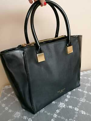 Ted Baker Womens Lela Crosshatch Shopper  Tote Bag Large Black Patent