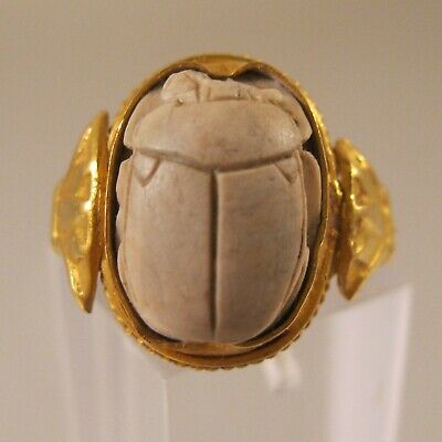Antique 1920's Art Deco 15ct Yellow Gold Egyptian Scarab Ring Size 6 Hand Carved