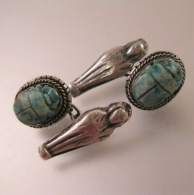 Antique Egyptian Scarab & Mummy Cufflinks Sterling Silver Stone Hand Carved