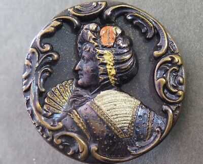 Antique Original Tint Button - Victorian Lady Holding Fan, Rococo Border