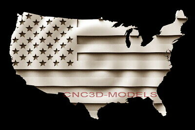 3D Model STL for CNC Router Carving Artcam Aspire Wave USA Flag America Map D243
