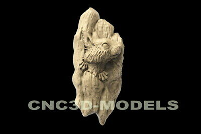3D STL Model for CNC Router Carving Artcam Aspire Animal Squirrel Tree Wood D160