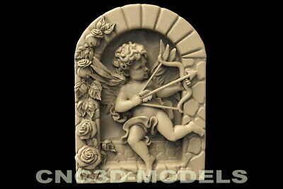 3D STL Model for CNC Router Carving Artcam Aspire Cherub Angel Baby Wings D145