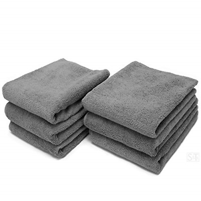 S&T INC. Microfiber Fitness Exercise Towels, 6 Pack, 16-Inch x 27-Inch, Grey