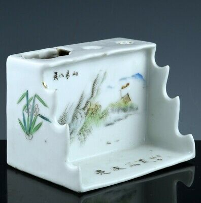 Interestng Antique Chinese Qianjiang Famille Rose Scholars Waterpot Brush Holder