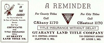Lot of 12 Vintage Ink Blotters Guaranty Land Title Co St. Louis & Clayton MO