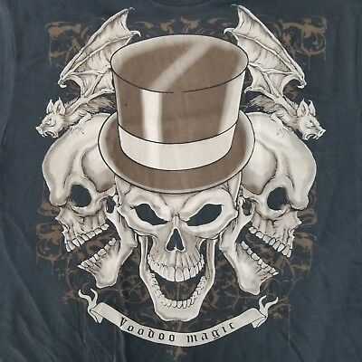 TEAMPUNK BLACK MAGIC SKULL soft cotton fitted white tee #20 stove top hat VOODOO