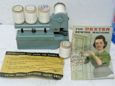 Vintage Miniature Sewing Machine In Case With Cottons - Dexter Sewing Machine