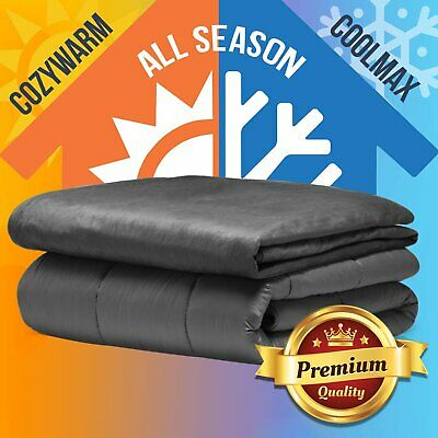 Premium Cotton Plush Weighted Blanket Adults 9KG 153cmx203cm Deep Relax Sleep