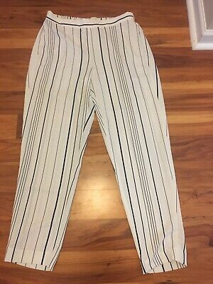 Vince Camuto Mid Rise Striped Pull On Pants White Black Stripe Size Small EUC