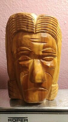 Antique Wood Hand Crafted Collectible Mans Face