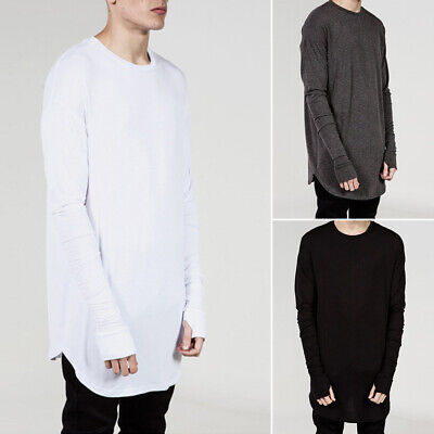 Fashion Men Slim Fit Crew Neck Long Sleeve Loose T-shirt Casual Top Blouse M-2XL