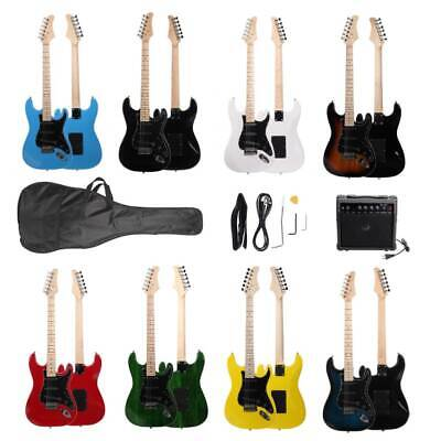 New 8 Colors 22 Frets Burning Fire Electric Guitar Sky Blue with Bag & 20 AMP