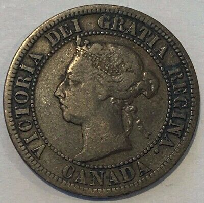 1891 Canada One Cent Small Leaves Queen Victoria Coin