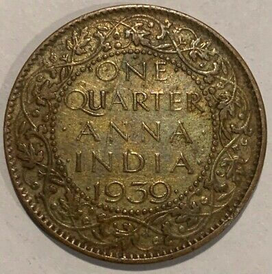 1939 British India One Quarter 1/4 Anna First Head Bombay Coin