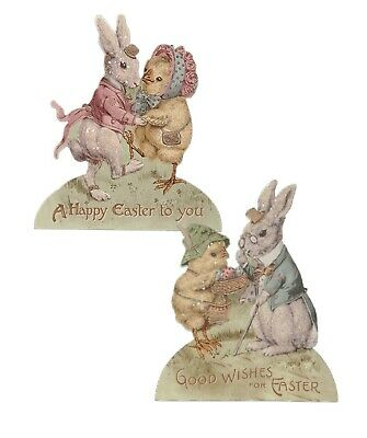 Bethany Lowe Easter Set Of 2 Spring Friends Dummyboards RL9803 Bunnies Chick