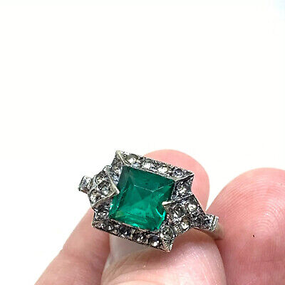 Antique Art Deco sterling silver white and green paste  ring