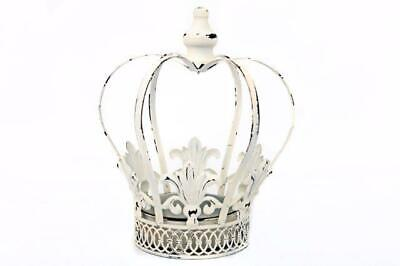 Antique White Metal Crown House Plant Flower Candle Pot Display Planter Holder