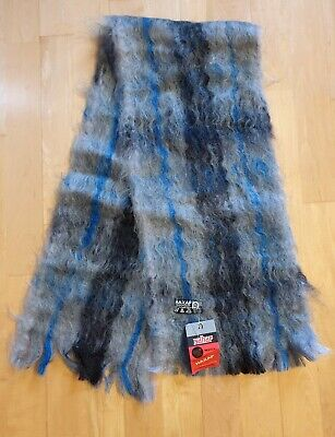 Grey & Blue Mohair scarf/ new