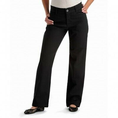 New Riders by Lee Women's 10 Long Relaxed Straight Leg Pants Stretch Waist Black