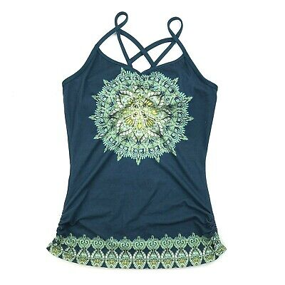 Prana Tank Top Yoga Mandala Blue Leyla size XS Shelf Bra Strappy Cage Ruched