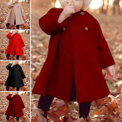 Coat Jacket Long Outerwear Sleeve Woolen Tops Cloak Outwear Toddler Infant