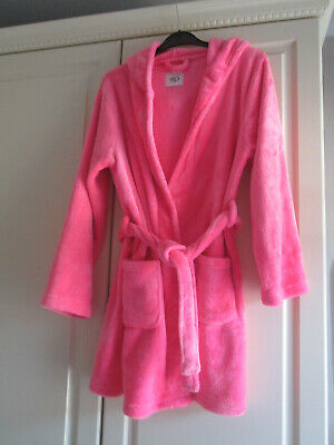 Girls Pink Hooded Short Fleece Belted Dressing Gown 12-13 New Look 915