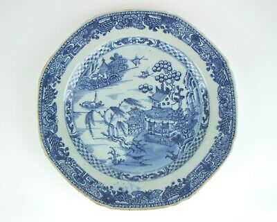 Antique 18thc Chinese blue and white porcelain octagonal plate