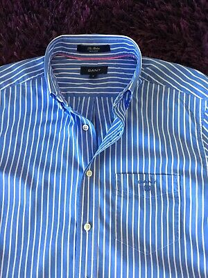 Super Cool 100% Genuine Mens Gant Light Blue & White Striped Shirt In Medium