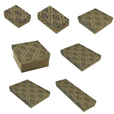 Kraft Damask Cotton Filled Jewelry Boxes Jewelry Gift Boxes Lot 100~200~500 Pc