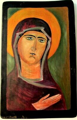 Hand Painted wood Icon Tempera of the Mother of God