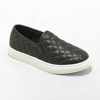 Cat & Jack Target Girl's Black Maha Quilted Double Gore Slip On Sneakers 5 NWT