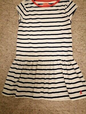 Girls Joules White And Navy Striped Dress, Age 7 Years.