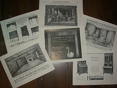 Job Lot Of 6 Vintage 100 Year Old Adverts For London Antique Shops Lot 24
